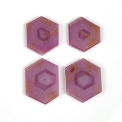76.65cts Natural Untreated Rosemary Sheen PINK SAPPHIRE Gemstone Hexagon Shape Flat Slice 21*18mm - 26*18mm 4pcs For Jewelry