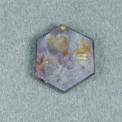 9.64cts Natural Untreated Rosemary Sheen PINK SAPPHIRE Gemstone TRAPICHE Hexagon Shape Flat Slice 15*14mm*3h 1pc For Ring/Pendant