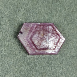 12.45cts Natural Untreated Rosemary Sheen PINK SAPPHIRE Gemstone TRAPICHE Hexagon Shape Flat Slice 20.5*14*3h 1pc For Ring/Pendant