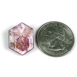 15.40cts Natural Untreated Rosemary Sheen PINK SAPPHIRE Gemstone TRAPICHE Hexagon Shape Flat Slice 20*15*3h 1pc For Ring/Pendant