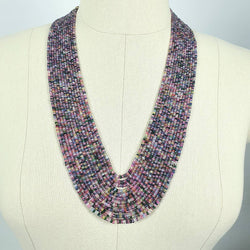 Natural Untreated MULTI SAPPHIRE Gemstone Faceted Shaded Rondelle Checker Cut Beads Necklace