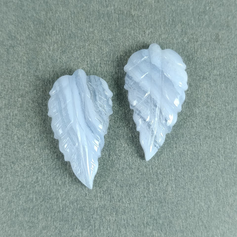 17.00cts Natural Untreated Botswana Striped Blue AGATE Gemstone Hand Carved LEAVES 25*14mm Pair