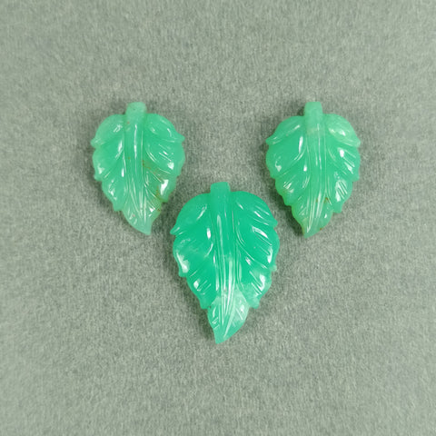 GREEN CHRYSOPRASE Gemstone Carving : 21.50cts Natural Untreated Chrysoprase Both Side Hand Carved Indian Leaves 19*13mm - 22*15mm 3pcs