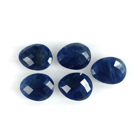 46.05cts Natural Untreated BLUE SAPPHIRE Gemstone Checker Cut Egg Shape Briolette 15*12mm September Birthstone