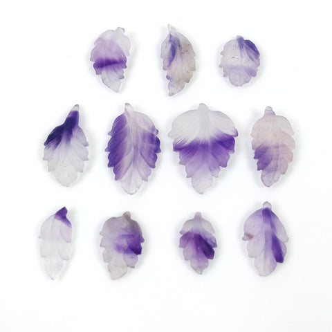 PURPLE AMETHYST Gemstone Carving February Birthstone : 55.05ct Natural Untreated Frosted Amethyst Hand Carved LEAVES 15*10mm - 25*19mm 11pcs