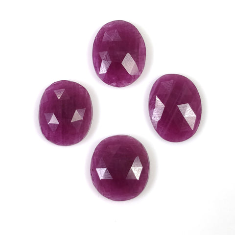 RED RUBY Gemstone Rose Cut July Birthstone : 19.00cts Natural Untreated Ruby Oval Shape Rose Cut 12.5*10mm - 13*11mm 4pcs