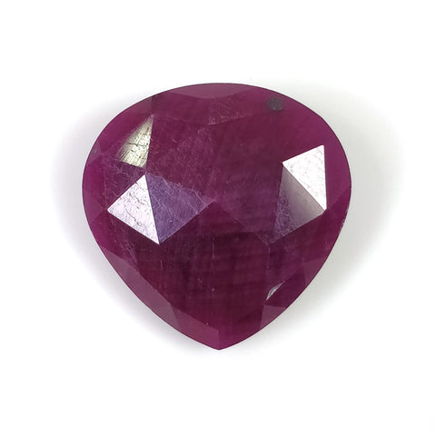 RED RUBY Gemstone Cut July Birthstone : 25.40cts Natural Untreated Unheated Ruby Heart Shape Briolette Checker Cut 20mm 1Pcs