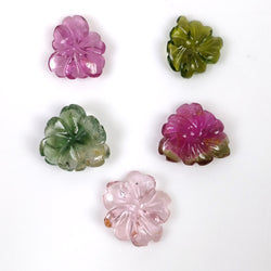 PINK GREEN TOURMALINE Gemstone Carving : 16.85cts Natural Untreated Tourmaline Hand Carved Flower 10.5*10mm - 13.5*12mm 5pcs