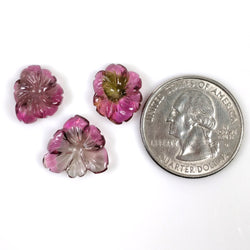 PINK TOURMALINE Gemstone Carving : 15.95cts Natural Untreated Tourmaline Hand Carved Flower 14*11.5mm - 15*14.5mm 3pcs