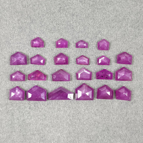 Raspberry SAPPHIRE Gemstone Step Cut : 28.90cts Natural Untreated Sheen PINK Sapphire Uneven Shape 6*6mm - 12*6mm 22pcs