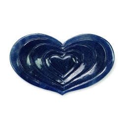 BLUE SAPPHIRE Gemstone Carving : 47.10cts Natural Untreated Unheated Sapphire Hand Carved Heart Shape 43*25mm (With Video)