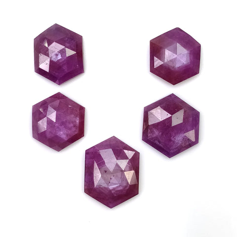 Raspberry SAPPHIRE Gemstone Rose Cut : 33.90cts Natural Untreated Sheen Pink Sapphire Hexagon Shape 12mm - 16.5*12.5mm 5pcs (With Video)