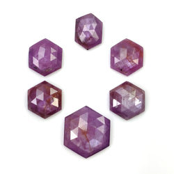 Raspberry SAPPHIRE Gemstone Rose Cut : 44.60cts Natural Untreated Sheen Pink Sapphire Hexagon Shape  13*9.5mm - 16mm 6pcs (With video)