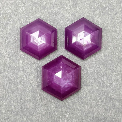 Raspberry SAPPHIRE Gemstone Step Cut : 31.90cts Natural Untreated Sheen Pink Sapphire Hexagon Shape 14.5mm - 15.5mm 3pcs (With Video)