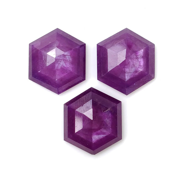 Raspberry SAPPHIRE Gemstone Step Cut : 32.90cts Natural Untreated Sheen Purple Pink Sapphire Hexagon Shape 15.5mm - 18mm 3pcs (With Video)