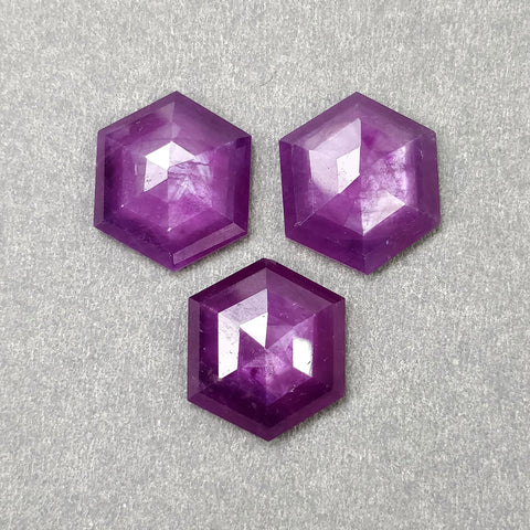 Raspberry SAPPHIRE Gemstone Step Cut : 32.90cts Natural Untreated Sheen Pink Sapphire Hexagon Shape 15.5mm - 18mm 3pcs (With Video)