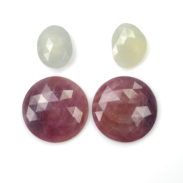 MULTI SAPPHIRE Gemstone Rose Cut : 40.55cts Natural Untreated Bi-Color Sapphire Round & Oval Shapes Rose Cut 13*10mm - 19mm 4pcs (With Video)