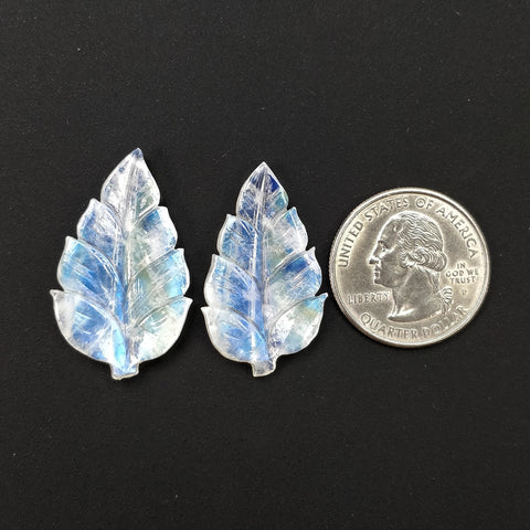 RAINBOW MOONSTONE Gemstone Carving : 27.50cts Natural Untreated Unheated Moonstone Hand Carved Leaves 32*19mm - 34.5*20.5mm 2pcs(With Video)
