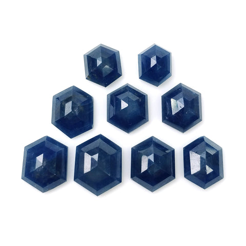 BLUE SAPPHIRE Gemstone Step Cut : 28.20cts Natural Untreated Unheated Sapphire Hexagon Shape 8*6mm - 12*9mm 9pcs (With Video)