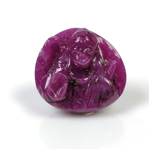 Red RUBY Gemstone Carving : 51.80cts Natural Untreated Ruby Hand Carved LORD HANUMAN 22.5*24mm*10(h) (With Video)
