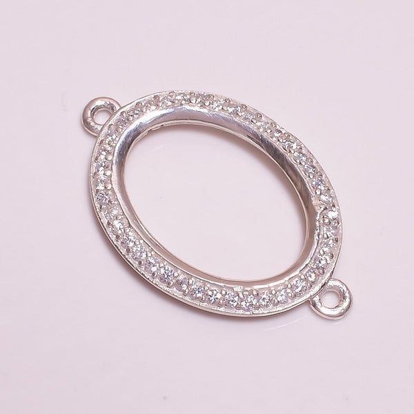 925 Sterling Silver Clear Cubic Zirconia CZ Micro Pave Setting Oval Link Charm Connector Clasp For Necklace Pendant Earring Bracelet Jewelry