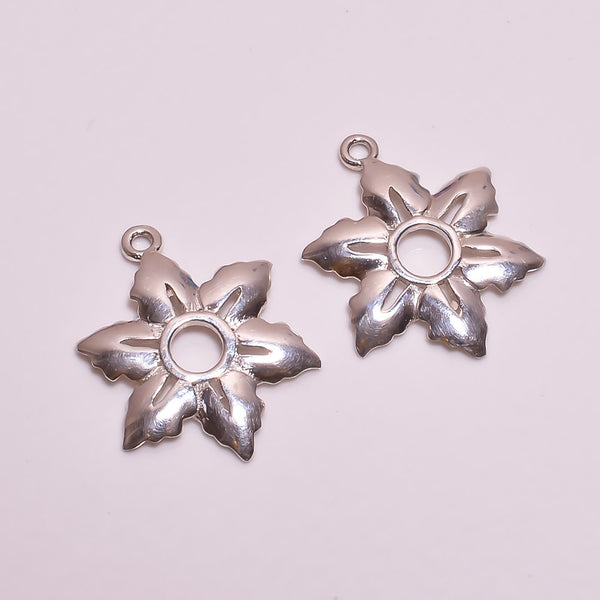 Solid Stamp 925 Sterling Silver Matte 2 Flower Maple Leaf Pair Charm Link Connectors For Earring, Pendant, Bracelet, Necklace Jewelry Making