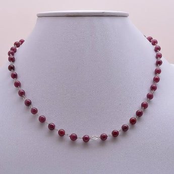 Gemstone Beaded Necklace : Genuine 100% Natural Untreated Red Ruby Gemstones Round Balls 925 Sterling Silver Chain Necklace 16