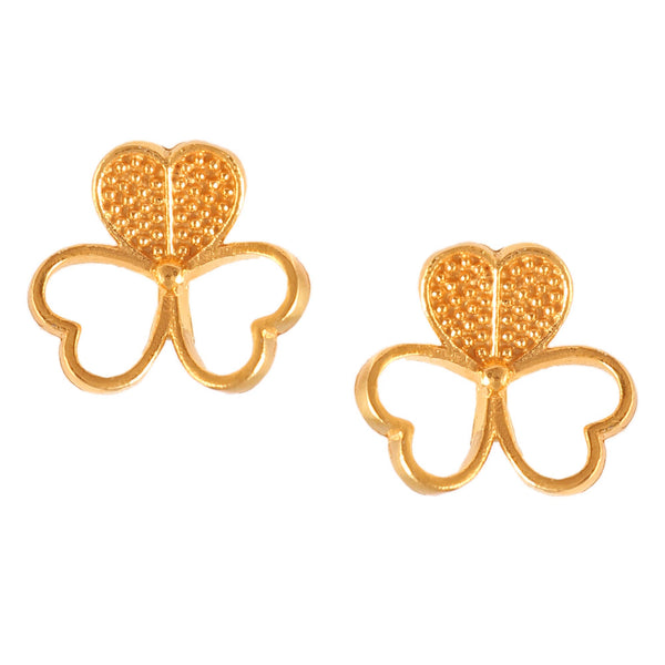 925 Sterling Silver Gold Plated Floral Heart Shape Stud Earring Boho Handmade Stud Push Back Earring Daily Wear Fashion Earring Gift For Her