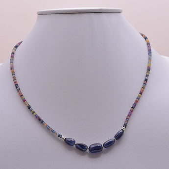 SAPPHIRE Gemstone Necklace : Natural Untreated BLUE & MULTI Sapphire Gemstone Beads Necklace Silver 17