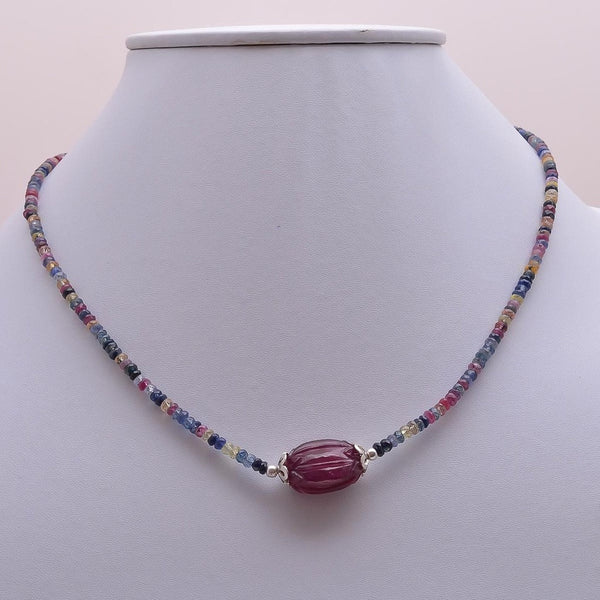 "MULTI SAPPHIRE Beads Necklace : Natural Untreated Red RUBY Gemstone Hand Carved Pendant Necklace, 16"" Women Beaded Necklace Pendant Gift"