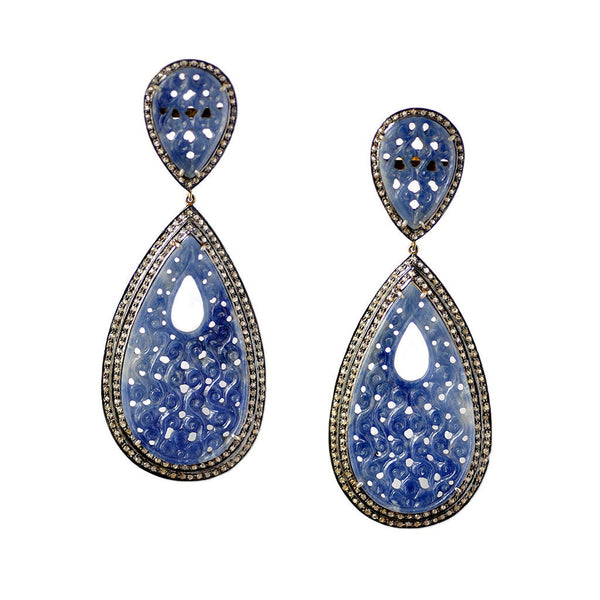"DIAMOND & BLUE SAPPHIRE Earring: 925 Sterling Silver Natural Sapphire Hand Carved Pear Diamond 3.75"" Gold Plated Push Back Victorian Earring"