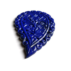 LAPIS LAZULI Gemstone LEAF Carving : 56cts Natural Untreated Unheated Blue Lapis Gemstone Hand Carved Indian Leaf 56*36mm 1Pc For Pendant