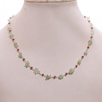 EMERALD And RUBY Gemstones Beads Chain NECKLACE: 925 Sterling Silver Natural Emerald Ruby Gemstone Uncut 16