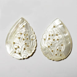 MOTHER OF PEARL Gemstone Carving : 61cts Natural Untreated White Handmade Mop Gemstone Hand Carved Pear Shape 40*30mm Pair For Jewelry