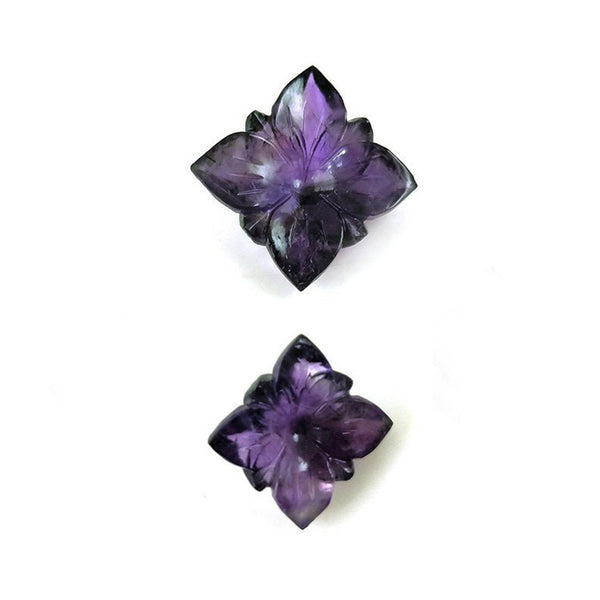 Natural AMETHYST Gemstone : 38.50cts Natural Untreated PURPLE Amethyst Gemstone FLOWER Hand Carved Both Side 21*10(h), 15*8h mm 2pcs Jewelry