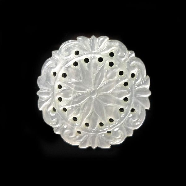 MOTHER Of PEARL Gemstone Carving : 26cts 100% Natural Untreated Unheated White MOP Gemstone Hand Carved Round Shape 33mm 1pc For Pendant