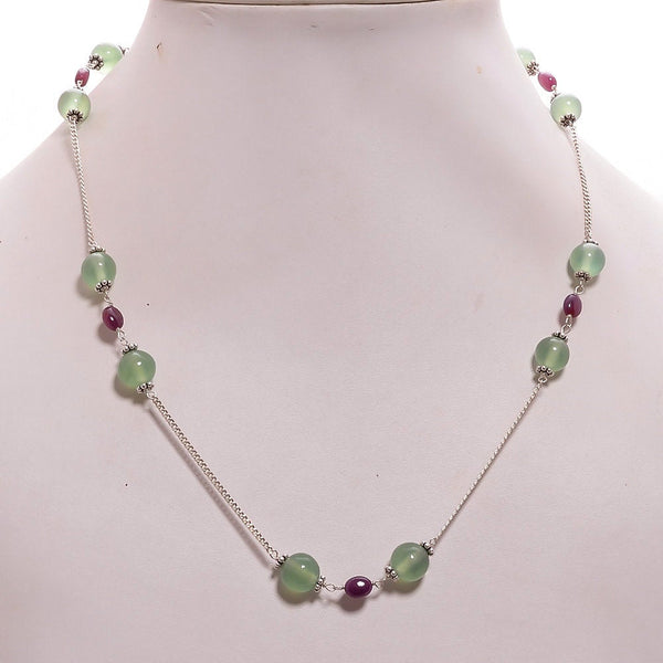 "Green SERPENTINE & Red RUBY Gemstones Beads Chain NECKLACE : 925 Sterling Silver Natural Gemstone Round Oval Cabochon 17"" Statement Necklace"