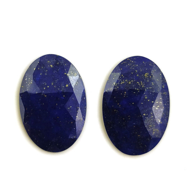 BLUE LAPIS LAZULI Gemstone Cut : 16.50cts Natural Untreated Lapis Gemstone Oval Shape Rose Cut 22*15mm Pair For Earring