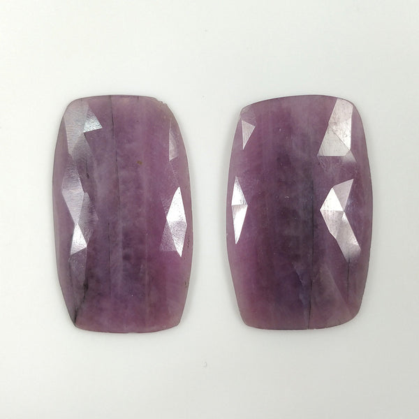 PINK SAPPHIRE Gemstone Cut : 70.00cts Natural Untreated Sapphire Gemstone Cushion Shape Rose Cut 35*22mm Pair For Earring