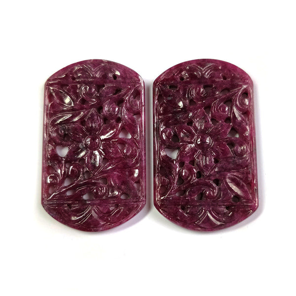 RED RUBY Gemstone Carving : 109.00cts Natural Untreated Unheated Ruby Gemstone Hand Carved Flat Back Uneven Shape 44*26mm Pair For Jewelry