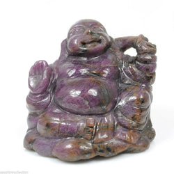 Red RUBY Gemstone BUDDHA Carving : 671ct Natural Untreated Ruby Gemstone Hand Carved LAUGHING Buddha Feng Shui Sculpture Figurine 47*54*47mm