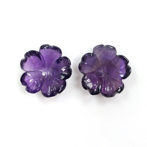 PURPLE AMETHYST Gemstone Carving : 23.50cts Natural Untreated Unheated Amethyst Gemstone Hand Carved FLOWER 19mm*6(h) Pair For Jewelry