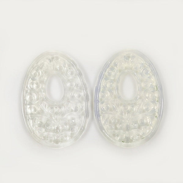 WHITE ONYX Gemstone Carving  : 63.00cts Natural Color Enhanced ONYX Gemstone Hand Carved Egg Shape 44*31mm Pair For Jewelry