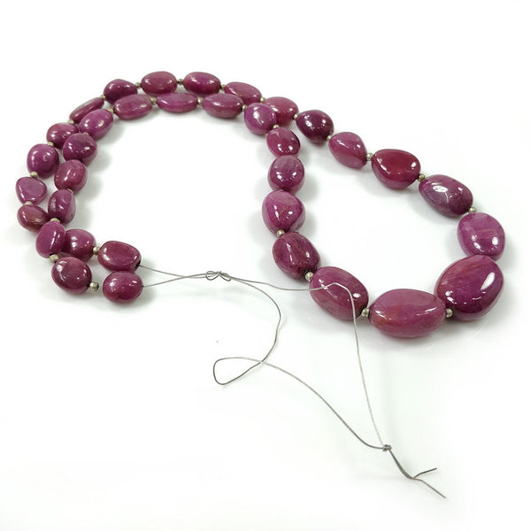 "Red RUBY Gemstone BEADS NECKLACE : 680.00cts 23"" Natural Untreated Unheated Ruby Gemstone Uneven Beads Women Necklace With Thread Wire"