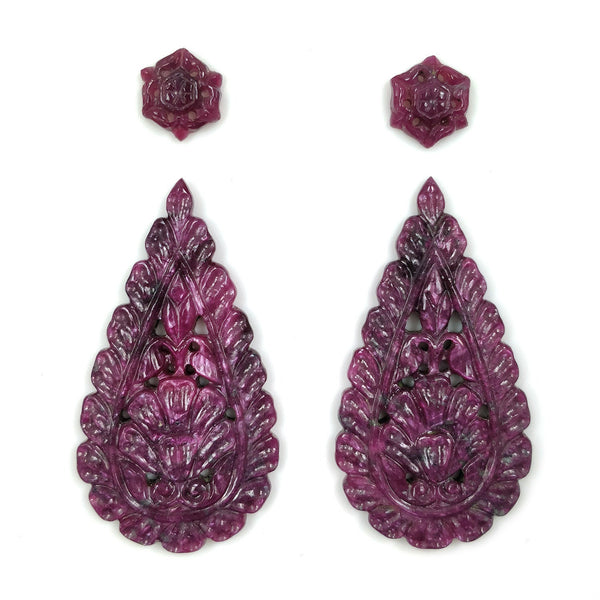 Red RUBY Gemstone CARVING : 100cts Natural Untreated Sheen Ruby Gemstone Hand Carved Pear Shape 12*10mm - 52*28mm Pair For Earrings