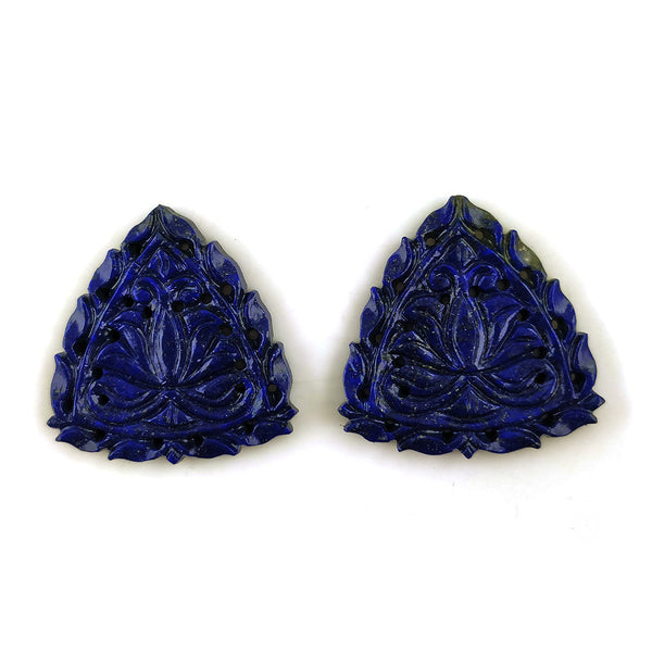 LAPIS LAZULI Gemstone Carving: 50cts Natural Untreated Unheated Blue Lapis Gemstone Hand Carved Triangle Shape 30mm Pair For Jewelry
