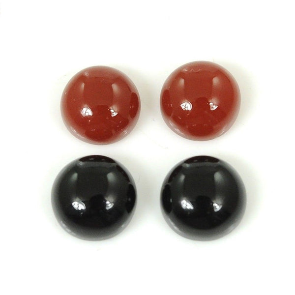 BLACK & ORANGE ONYX Gemstone : 45.10cts Natural Color Enhanced Onyx Gemstone Round Shape Cabochon 17mm*5.5h - 14mm*6h Pair For Earring