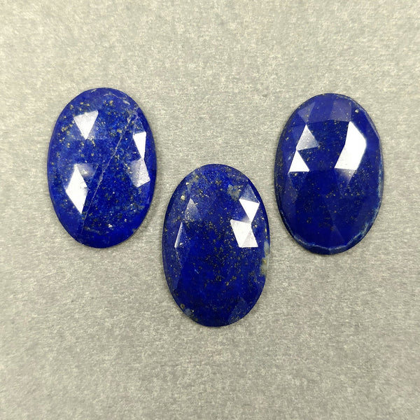 LAPIS LAZULI Gemstone CUT : 30.53cts Natural Untreated Unheated Blue Lapis Gemstone Oval Shape Rose Cut 22.5*15mm 3pcs Set For Jewelry