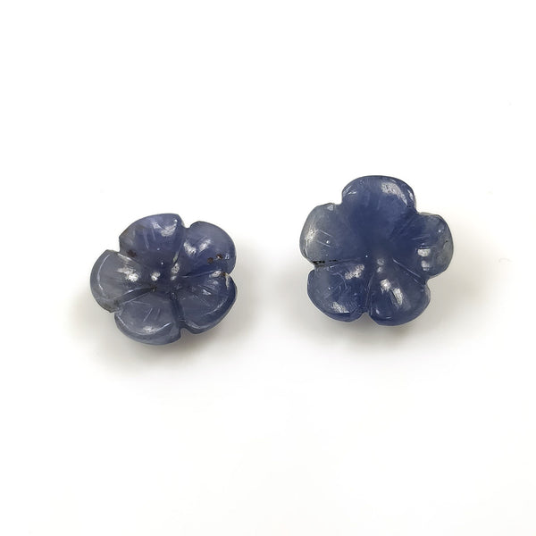 BLUE SAPPHIRE Gemstone Carving : 8.50ct Natural Untreated Unheated Sapphire Gemstone Hand Carved Round FLOWER Shape 11.10mm Pair For Jewelry