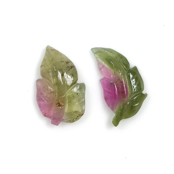 Watermelon TOURMALINE Gemstone LEAF Carving : 5.18cts Natural Untreated Tourmaline Gemstone Hand Carved Leaves 14*9mm - 14.5*7.5mm 2pcs